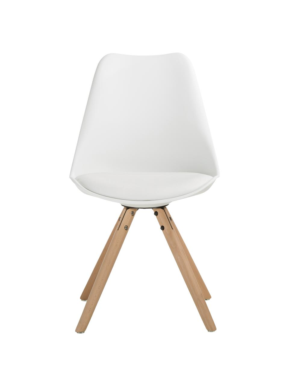 Krzesło Max, 2 szt., Nogi: drewno bukowe, Biały, S 46 x G 54 cm