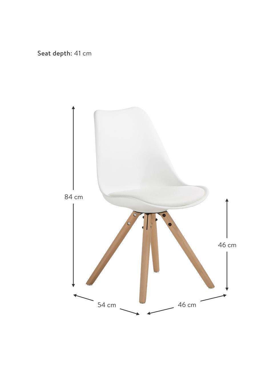 Stoelen Max, 2 stuks, Zitvlak: kunstleer (polyurethaan), Zitvlak: kunststof, Poten: beukenhout, Wit, B 46 x D 54 cm
