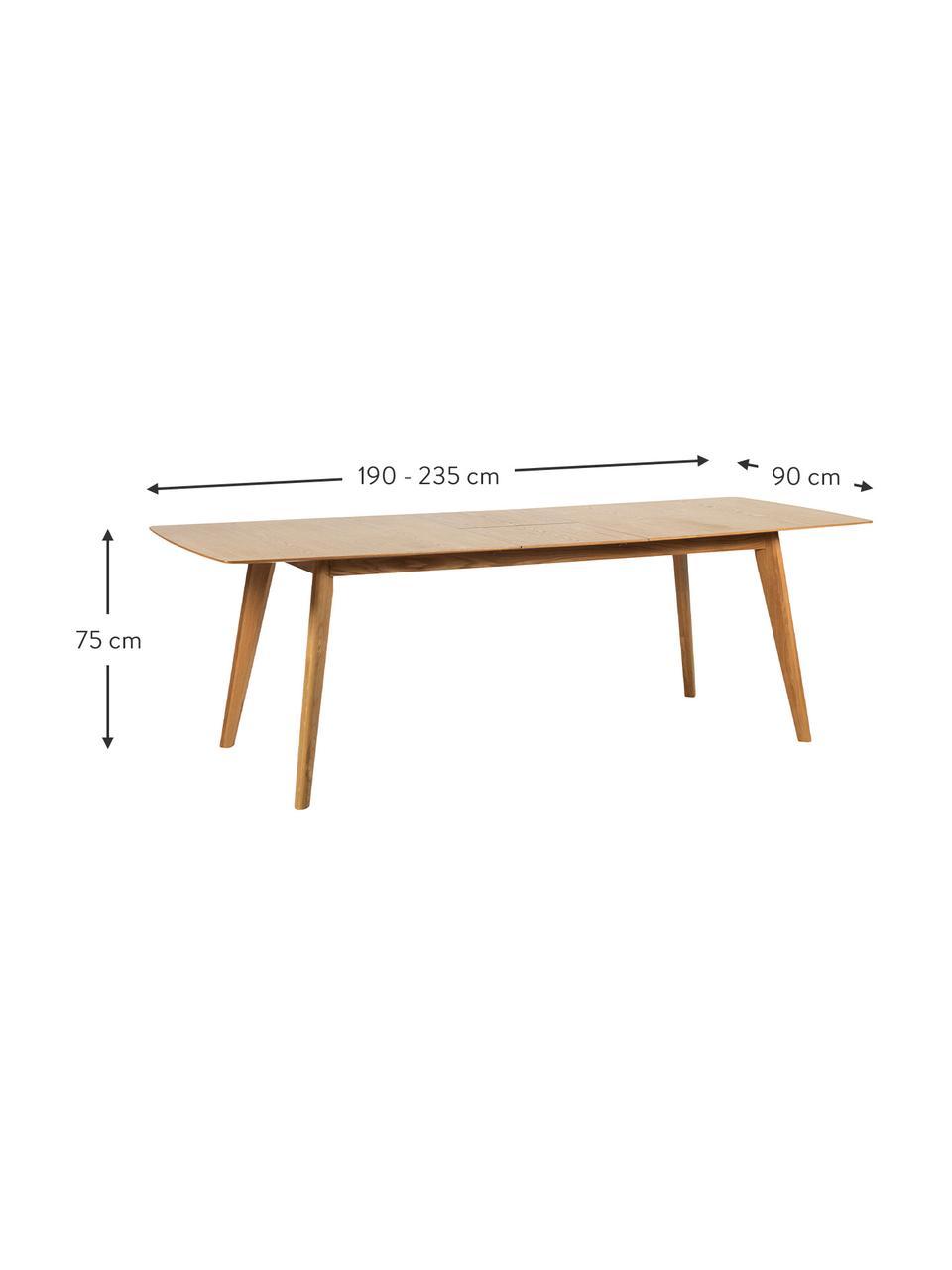 Stół rozkładany do jadalni Cirrus, Blat: płyta pilśniowa średniej , Nogi: drewno dębowe, lakierowan, Drewno dębowe, matowy, S 190 - 235 x G 90 cm