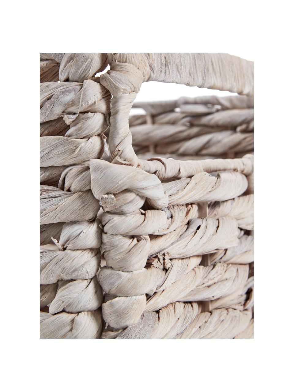 Opbergmand Words in wit, Mand: waterhyacint, Frame: metaal, Wit, 35 x 27 cm
