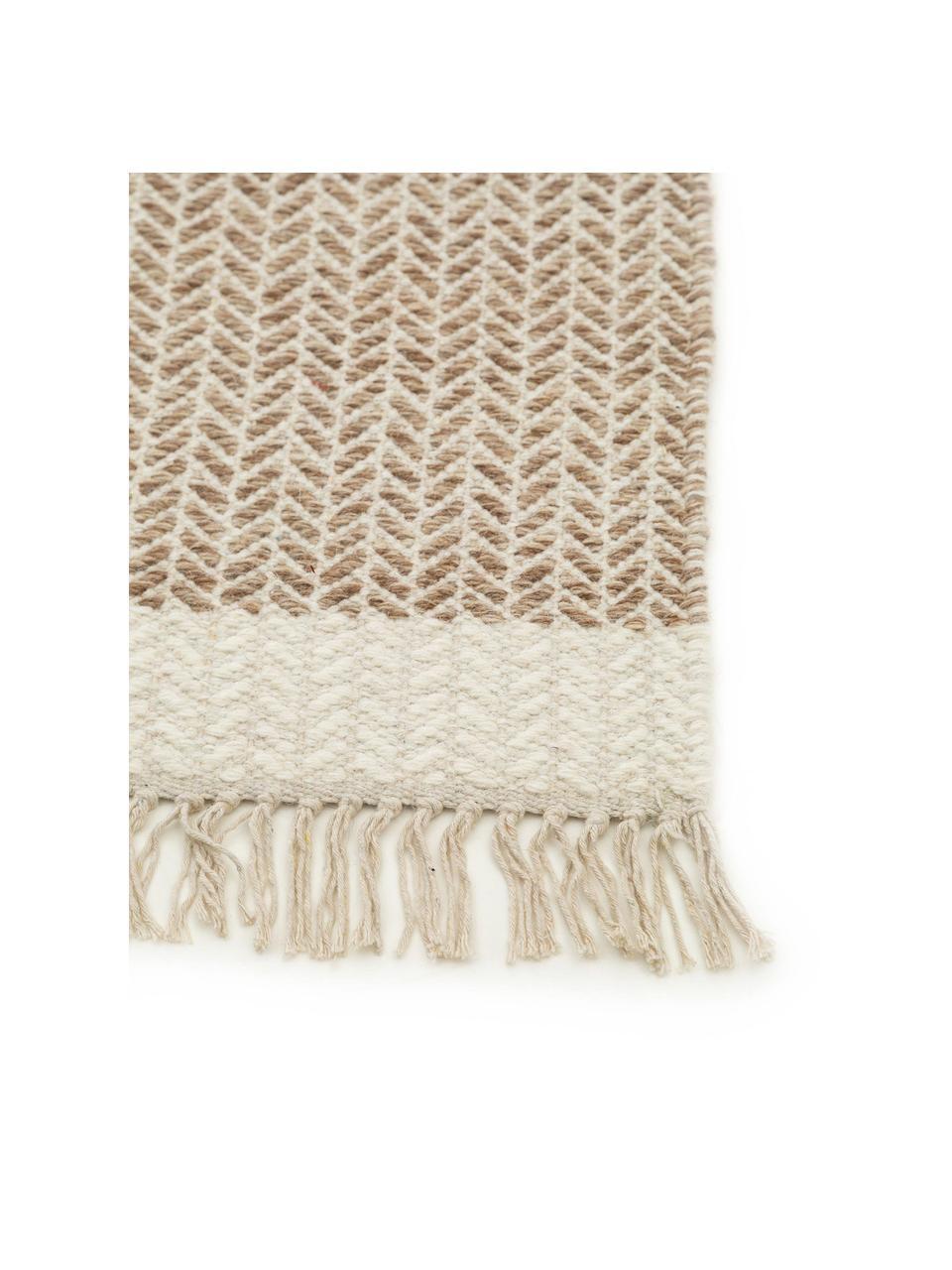 Ręcznie tkany dywan z wełny z frędzlami Kim, 80% wełna, 20% bawełna Włókna dywanów wełnianych mogą nieznacznie rozluźniać się w pierwszych tygodniach użytkowania, co ustępuje po pewnym czasie, Beżowy, kremowy, S 120 x D 170 cm (Rozmiar S)