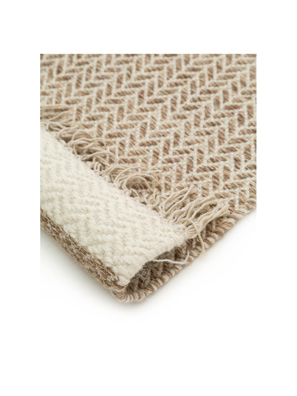 Tappeto in lana beige/crema tessuto a mano con frange Kim, 80% lana, 20% cotone Nel caso dei tappeti di lana, le fibre possono staccarsi nelle prime settimane di utilizzo, questo e la formazione di lanugine si riducono con l'uso quotidiano, Beige, crema, Larg. 120 x Lung. 170 cm (taglia S)
