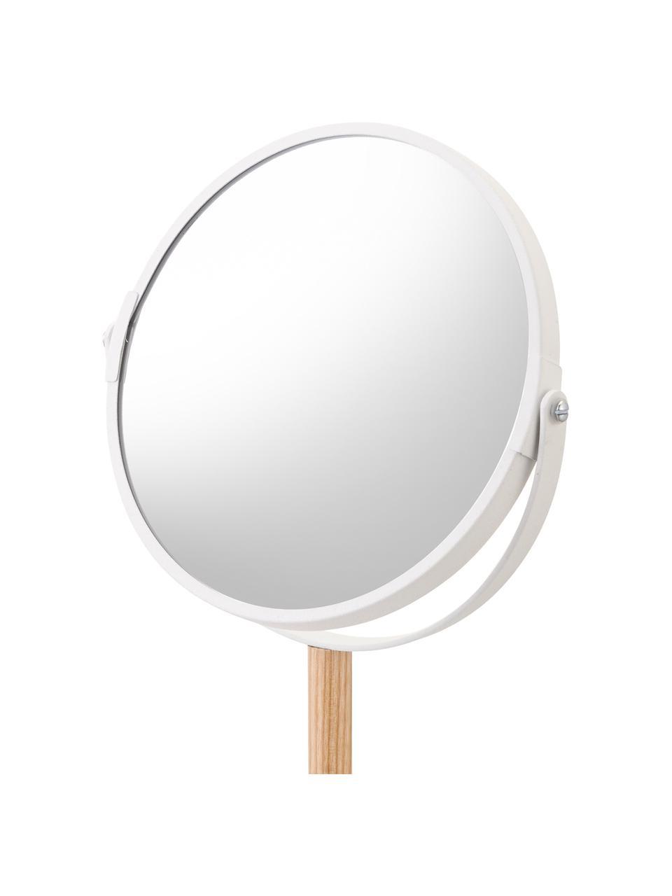 Runder Kosmetikspiegel Tosca mit Ablageflächen und Vergrößerung, Stange: Holz, Spiegelfläche: Spiegelglas, Weiß, Beige, 18 x 33 cm