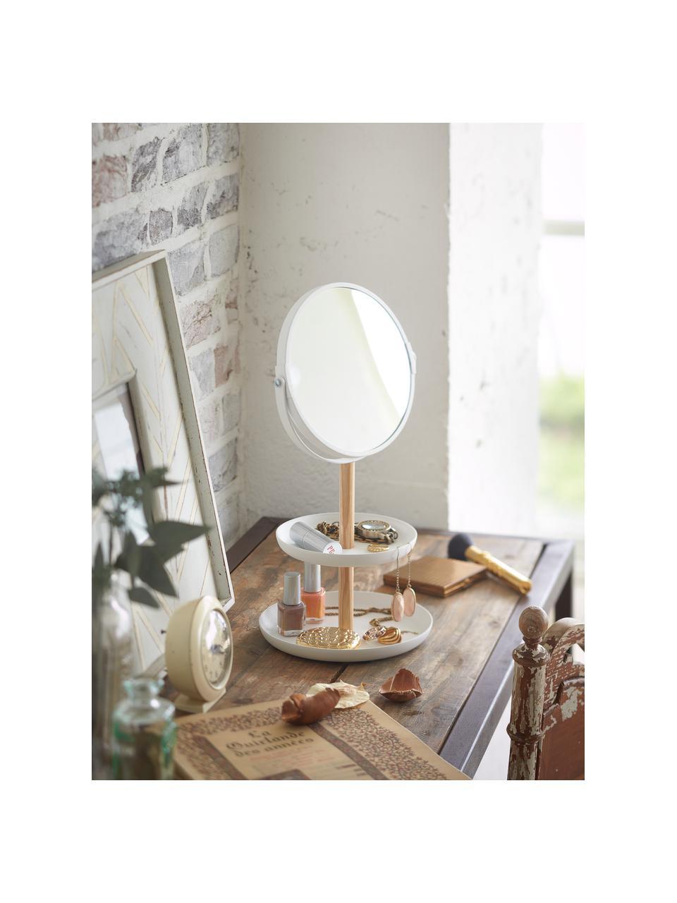 Kosmetikspiegel Tosca mit Vergrößerung, Stange: Holz, Spiegelfläche: Spiegelglas, Weiß, Braun, 18 x 33 cm