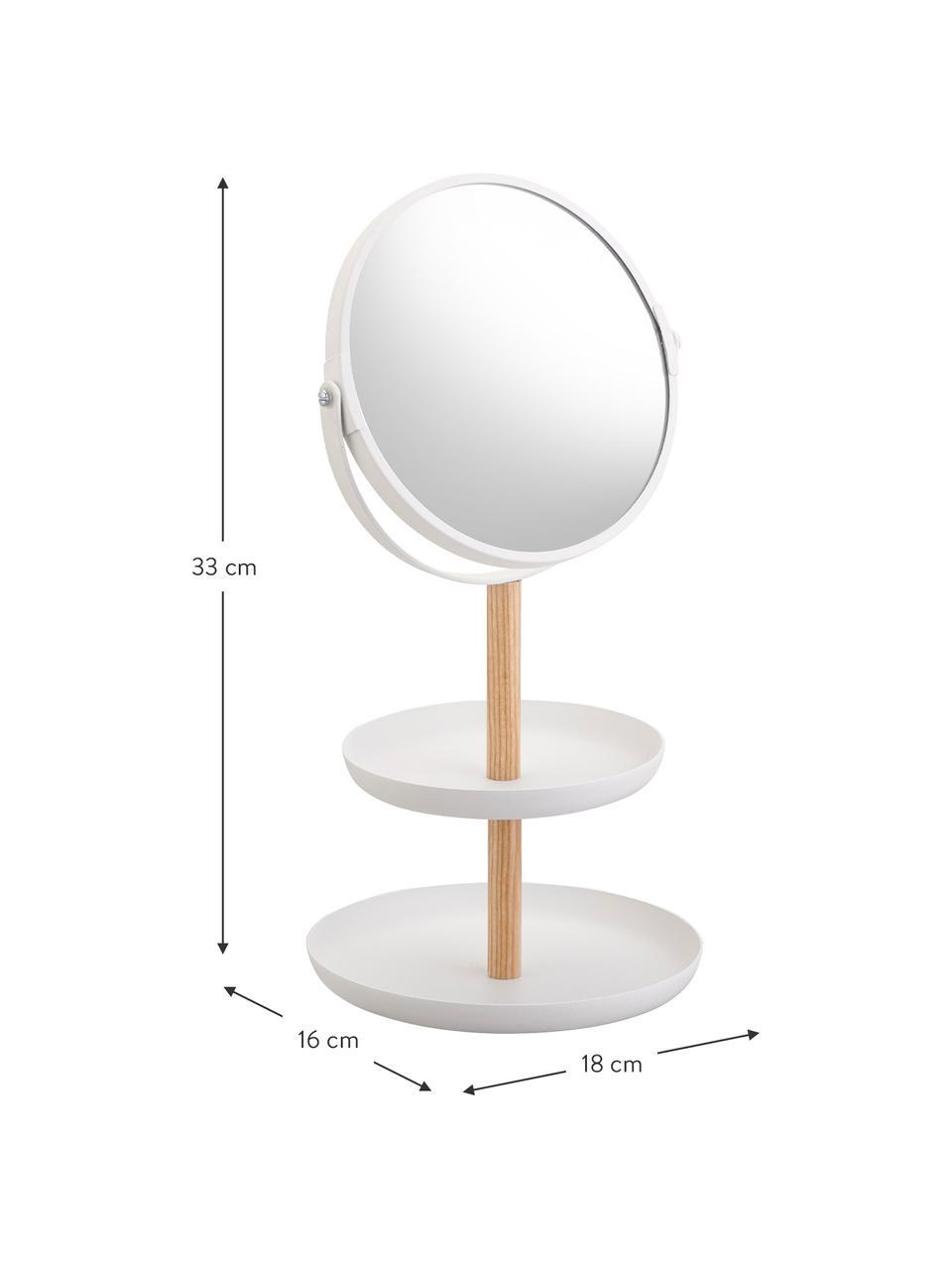 Make-up spiegel Tosca met vergroting, Stang: hout, Wit, bruin, 18 x 33 cm