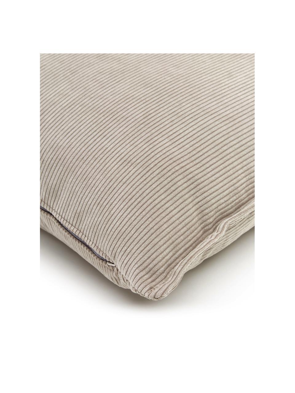 Cuscino arredo in velluto a coste beige Lennon, Rivestimento: velluto a coste (92% poli, Beige, Larg. 60 x Lung. 60 cm