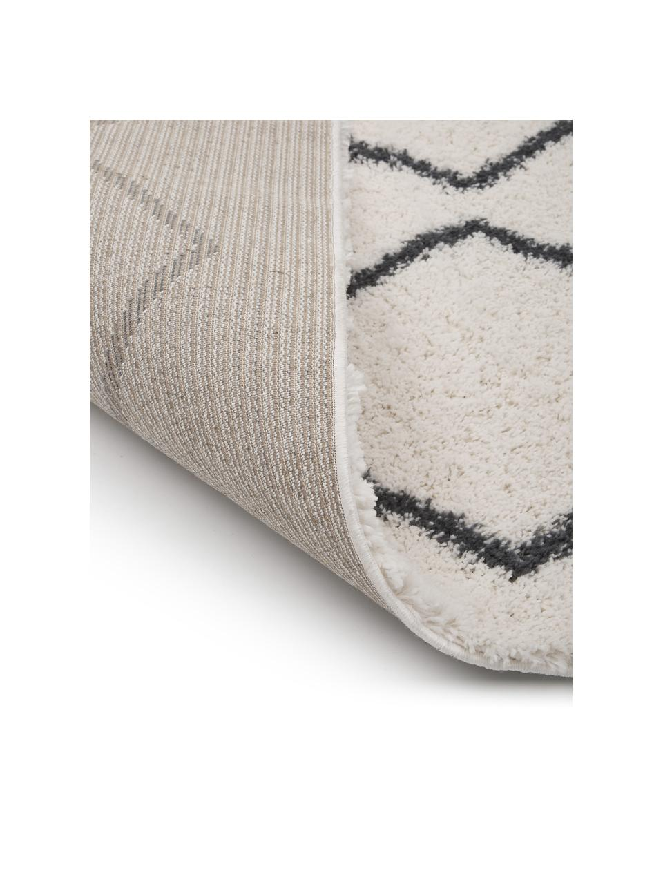 Tappeto a pelo lungo bianco crema/grigio scuro Velma, Retro: 78% juta, 14% cotone, 8% , Bianco crema, grigio scuro, Larg. 300 x Lung. 400 cm (taglia XL)
