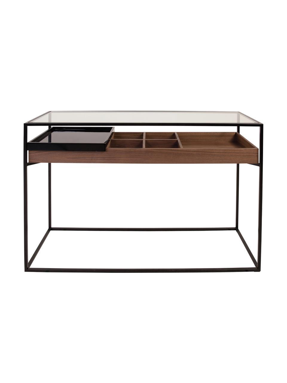Konsola z miejscem do przechowywania Helix, Stelaż: metal malowany proszkowo, Blat: szkło, Czarny, transparentny, drewno orzecha włoskiego, S 120 x G 40 cm