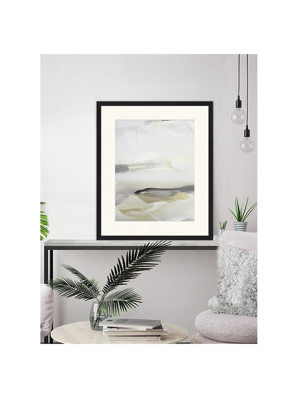 Gerahmter Digitaldruck Green Abstract, Bild: Digitaldruck auf Papier, , Rahmen: Holz, lackiert, Front: Plexiglas, Mehrfarbig, 53 x 63 cm