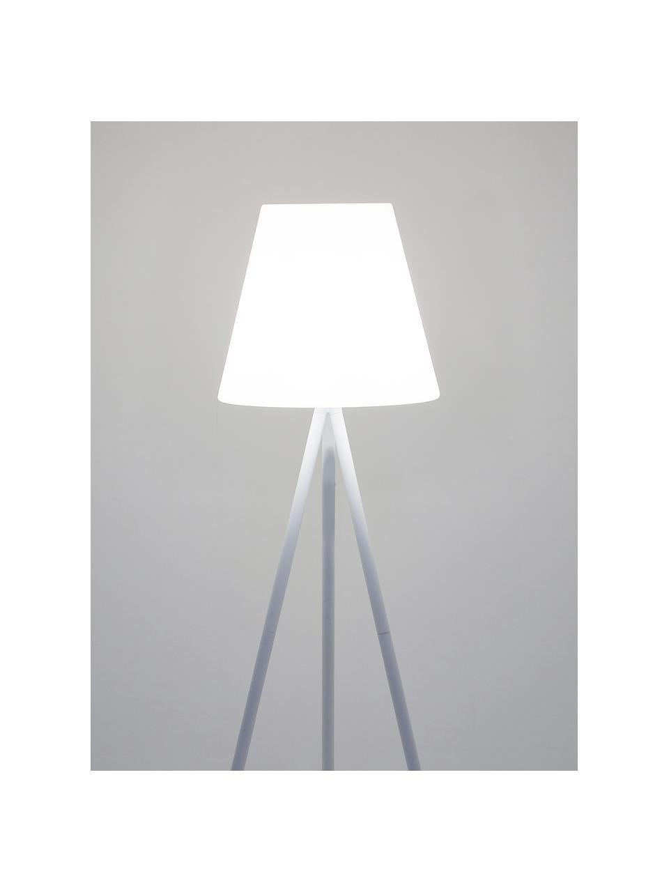 Outdoor Stehlampe Wells mit Stecker, Lampenschirm: Kunststoff, Lampenfuß: Aluminium, eloxiert, Weiß, Ø 35 x H 134 cm