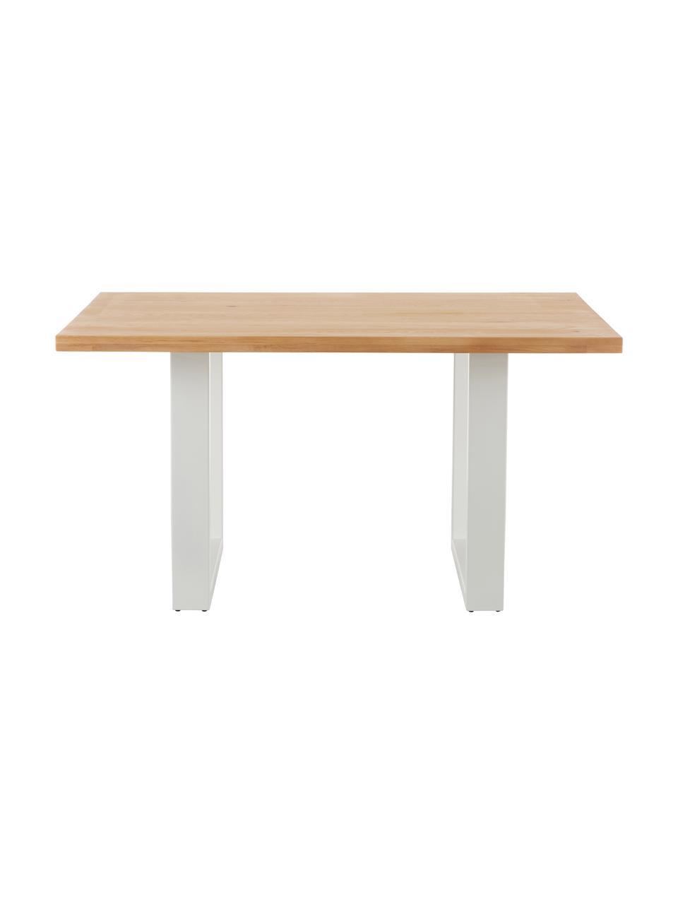 Esstisch Oliver mit Massivholzplatte, Tischplatte: Wildeichenlamellen, massi, Beine: Metall, pulverbeschichtet, Wildeiche, B 160 x T 90 cm