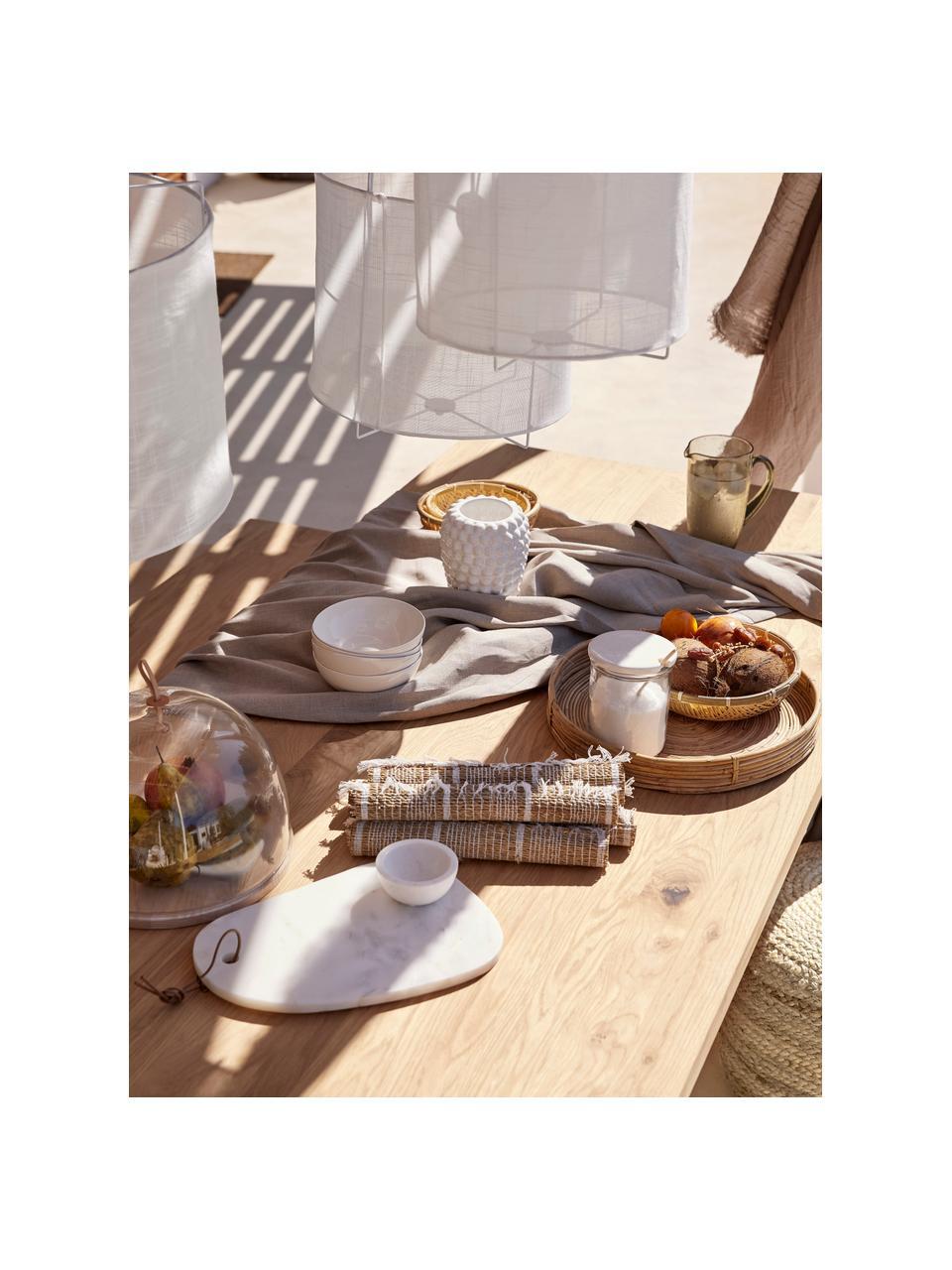 Eettafel Oliver met massief houten blad, Tafelblad: latten van wild eiken, ma, Poten: gepoedercoat metaalkleuri, Wild eiken, wit, 160 x 90 cm
