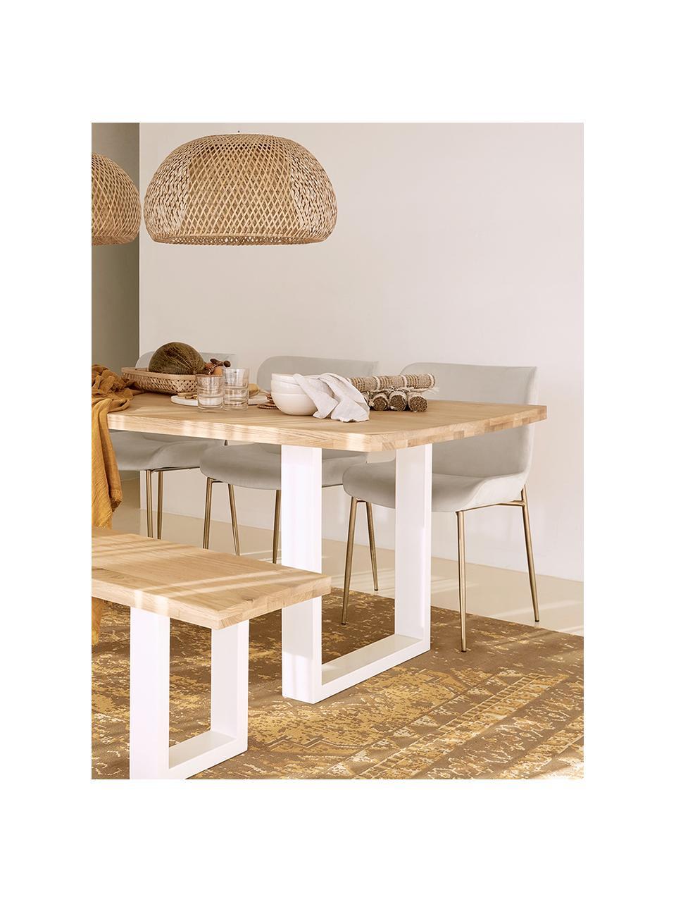 Stół do jadalni  z litego drewna Oliver, Blat: listwy z litego drewna z , Nogi: metal malowany proszkowo, Dzikie drewno dębowe, biały, S 160 x G 90 cm