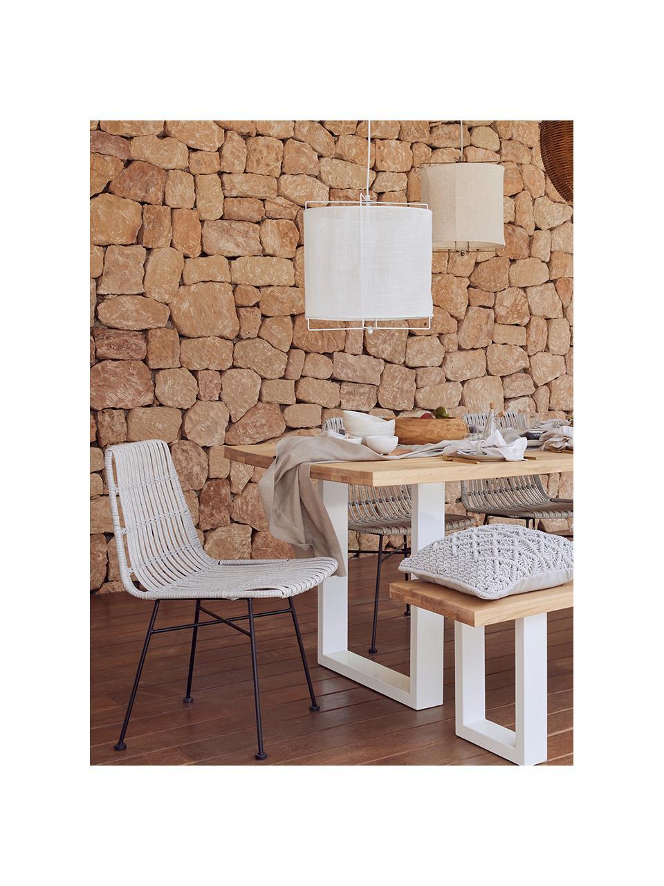 Stół do jadalni  z litego drewna Oliver, Blat: listwy z litego drewna z , Nogi: metal malowany proszkowo, Dzikie drewno dębowe, biały, S 200 x G 100 cm