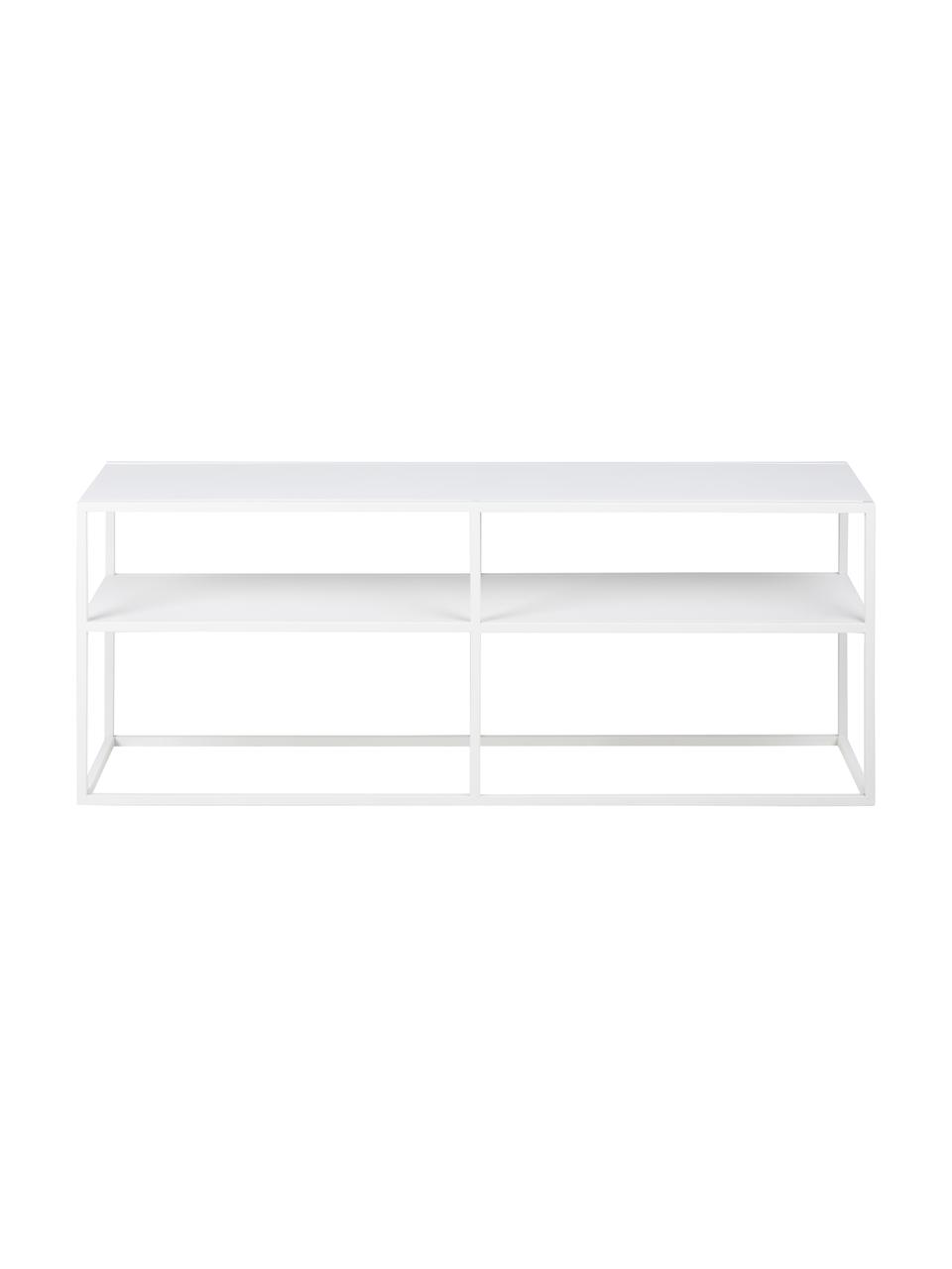 Metall-Lowboard Neptun in Weiß, Metall, pulverbeschichtet, Weiß, 120 x 46 cm
