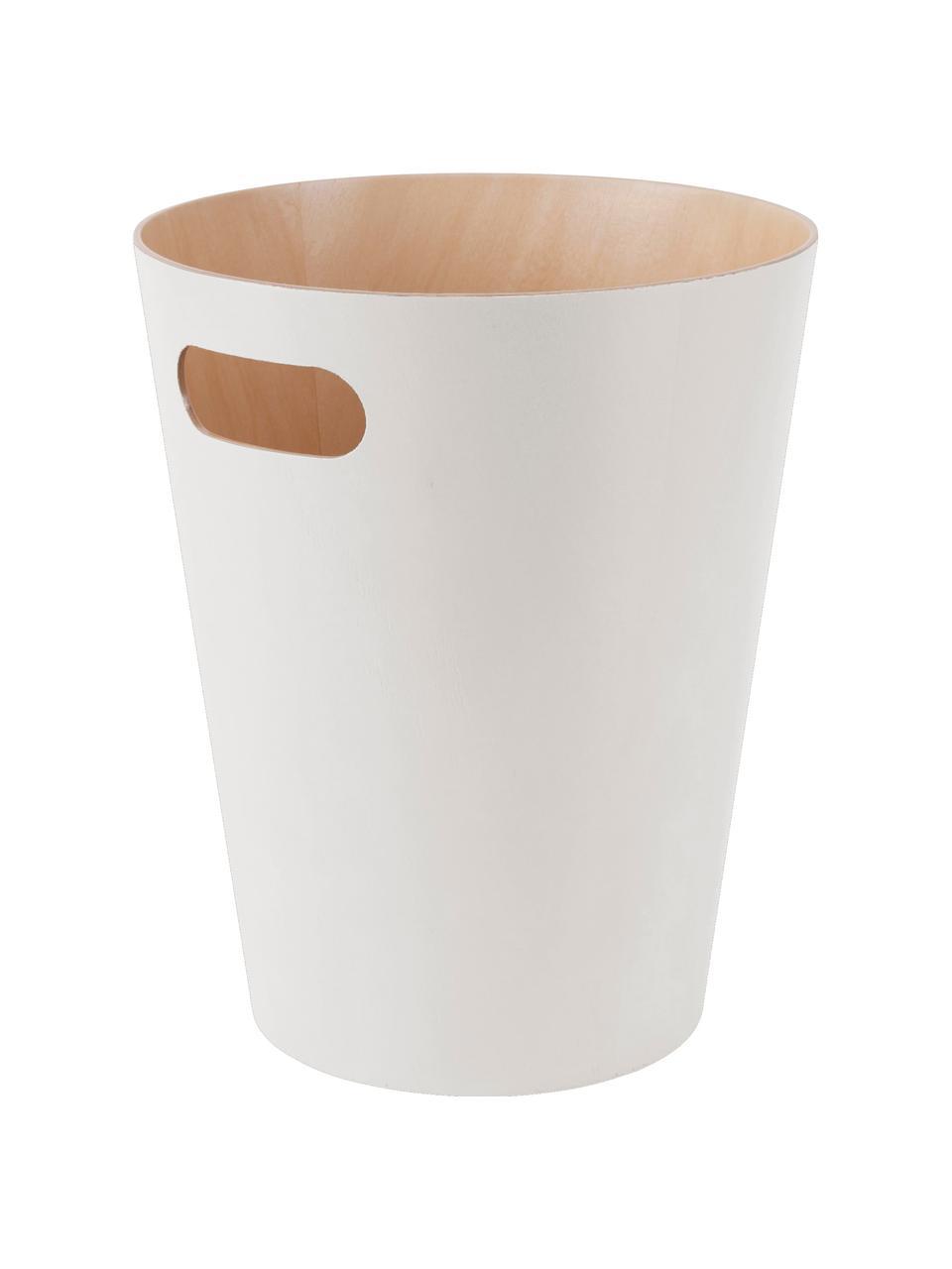 XS Papierkorb Woodrow Can, Holz, lackiert, Creme, Ø 23 x H 28 cm