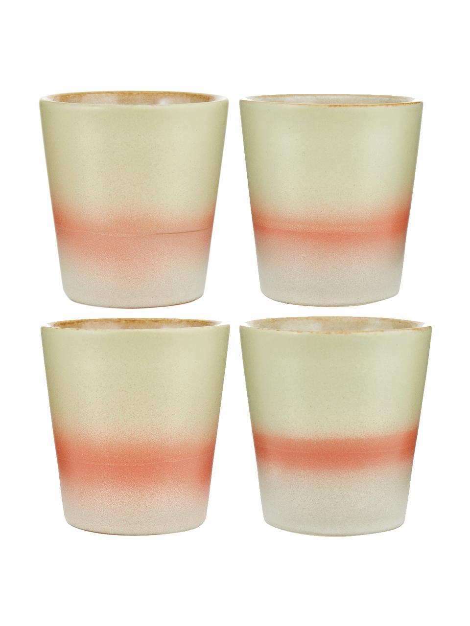 Handgemaakte XS bekers 70's in retro stijl, 4 stuks, Keramiek, Geel, crèmekleurig, roze, Ø 8 x H 8 cm