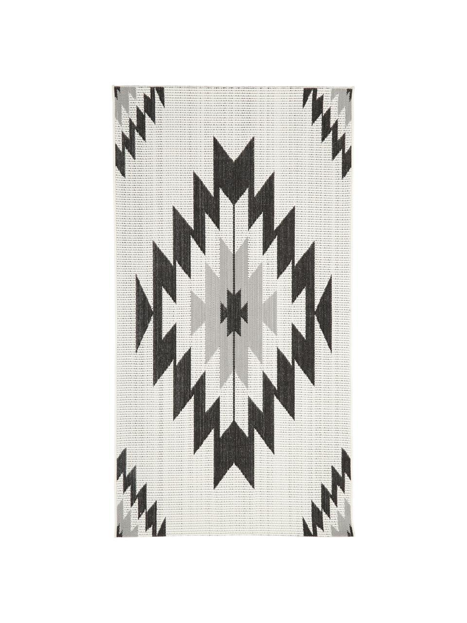 In- & outdoor vloerkleed Ikat met ethno patroon, 86% polypropyleen, 14% polyester, Crèmewit, zwart, grijs, B 200 x L 290 cm (maat L)