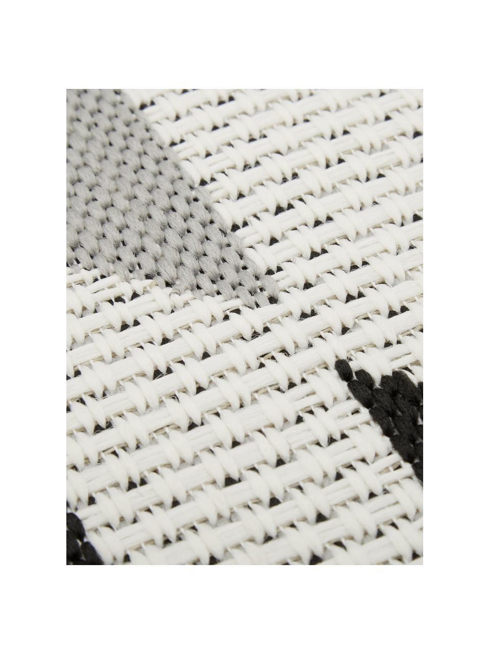Dywan wewnętrzny/zewnętrzny w stylu etno Ikat, 86% polipropylen, 14% poliester, Kremowobiały, czarny, szary, S 200 x D 290 cm (Rozmiar L)