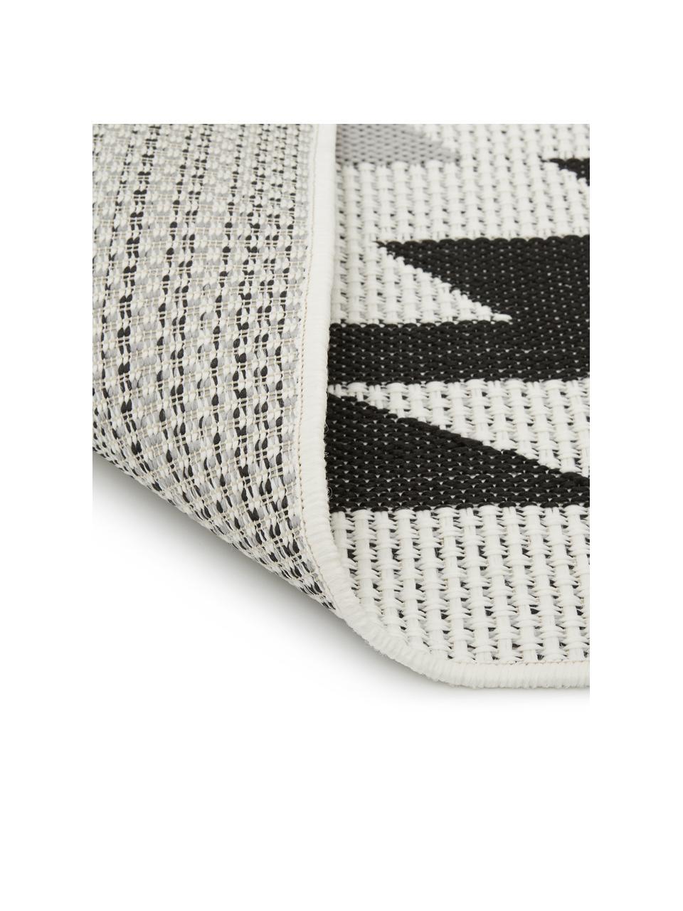 In- & Outdoor-Teppich Ikat mit Ethno Muster, 86% Polypropylen, 14% Polyester, Cremeweiß, Schwarz, Grau, B 200 x L 290 cm (Größe L)