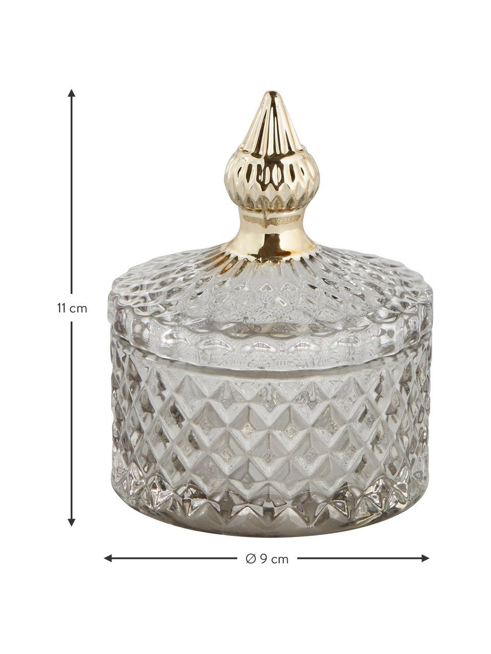 Contenitore con coperchio Miya, Vetro, Grigio trasparente, dorato, Ø 9 x Alt. 11 cm