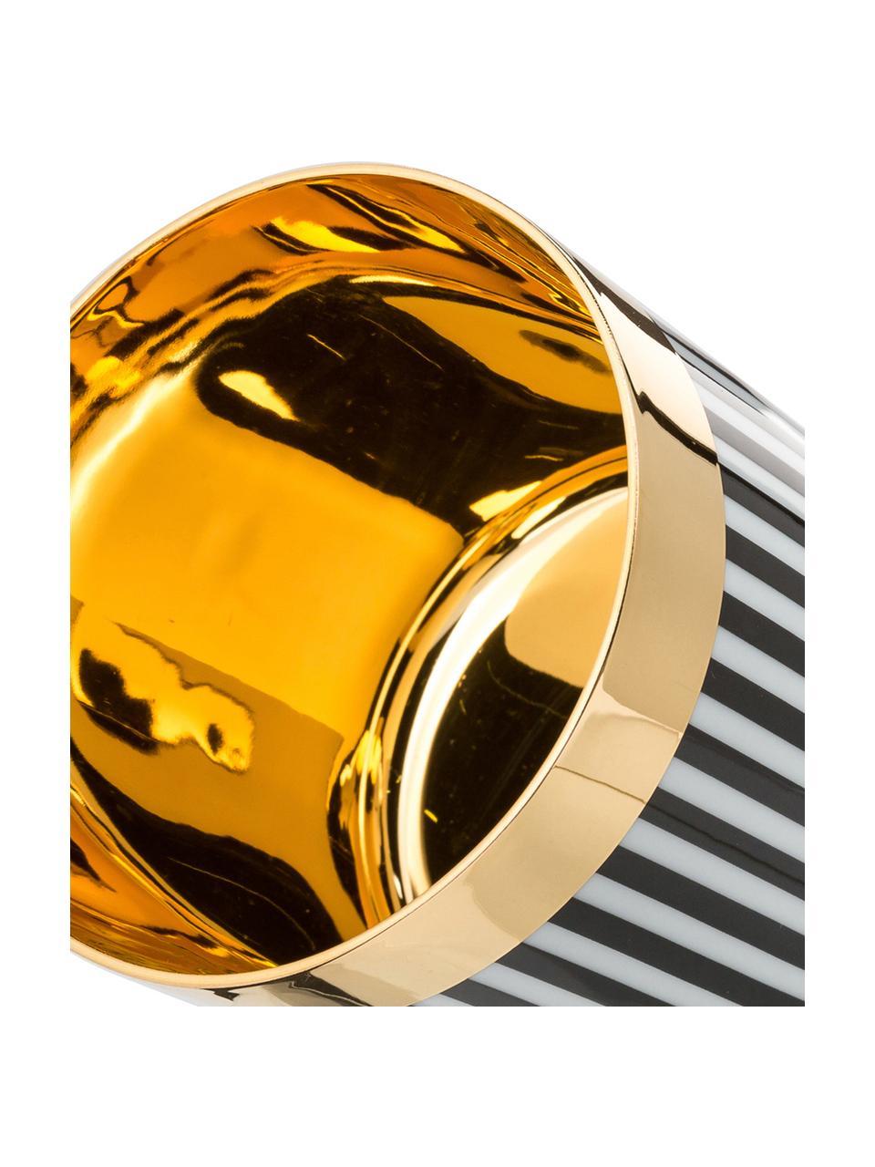 Vergoldeter Champagnerbecher Sip of Gold aus Porzellan, Rand: Vergoldet, Schwarz, Weiß, Gold, Ø 9 x H 7 cm