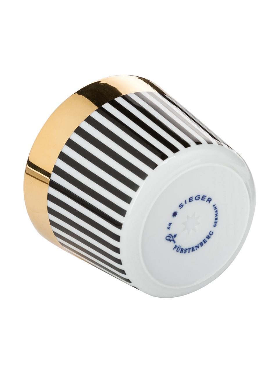 Coupe à champagne porcelaine dorée à l'or véritable Sip of Gold, Noir, blanc, or