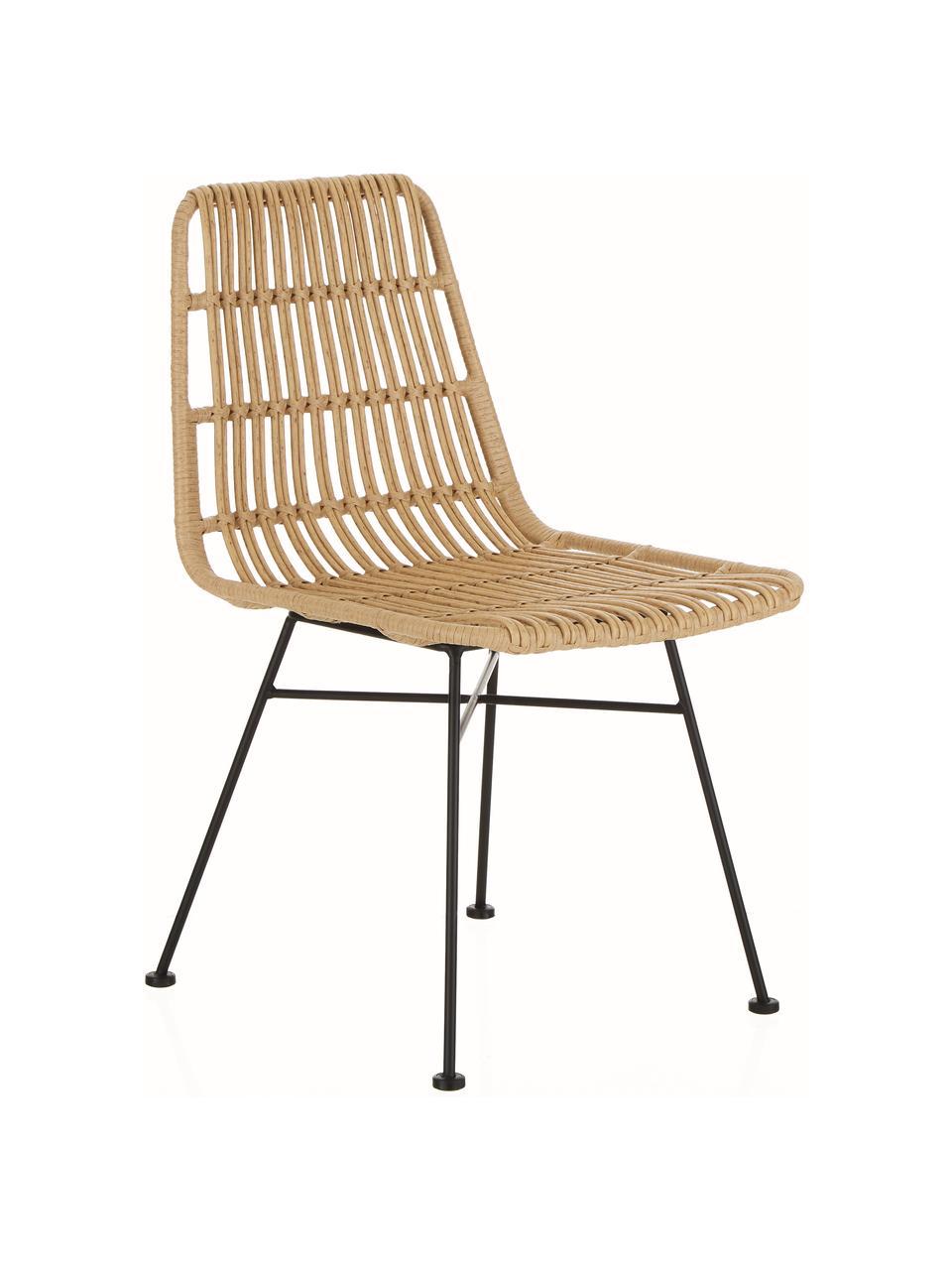 Polyrotan stoelen Costa, 2 stuks, Zitvlak: polyethyleen-vlechtwerk, Frame: gepoedercoat metaal, Lichtbruin, zwart, B 47 x D 61 cm