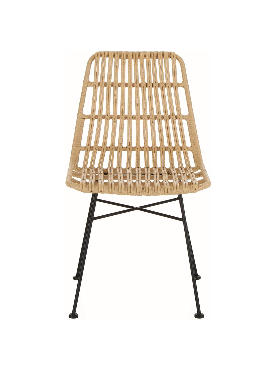 Polyrattan-Stühle Costa, 2 Stück, Sitzfläche: Polyethylen-Geflecht, Gestell: Metall, pulverbeschichtet, Hellbraun, Schwarz, B 47 x T 61 cm