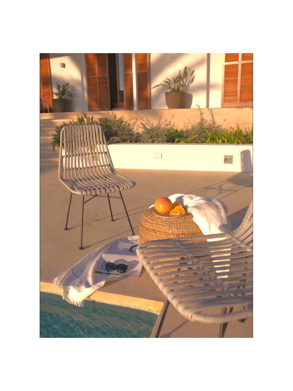 Krzesło z polirattanu Tulum, 2 szt., Stelaż: metal malowany proszkowo, Jasny brązowy, nogi: czarny, S 47 x G 61 cm