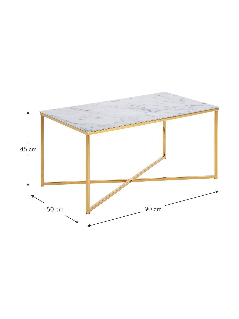 Couchtisch Aruba mit marmorierter Glasplatte, Tischplatte: Glas, matt bedruckt, Gestell: Stahl, vermessingt, Weiß, grau marmoriert, Messsingfarben, 90 x 45 cm