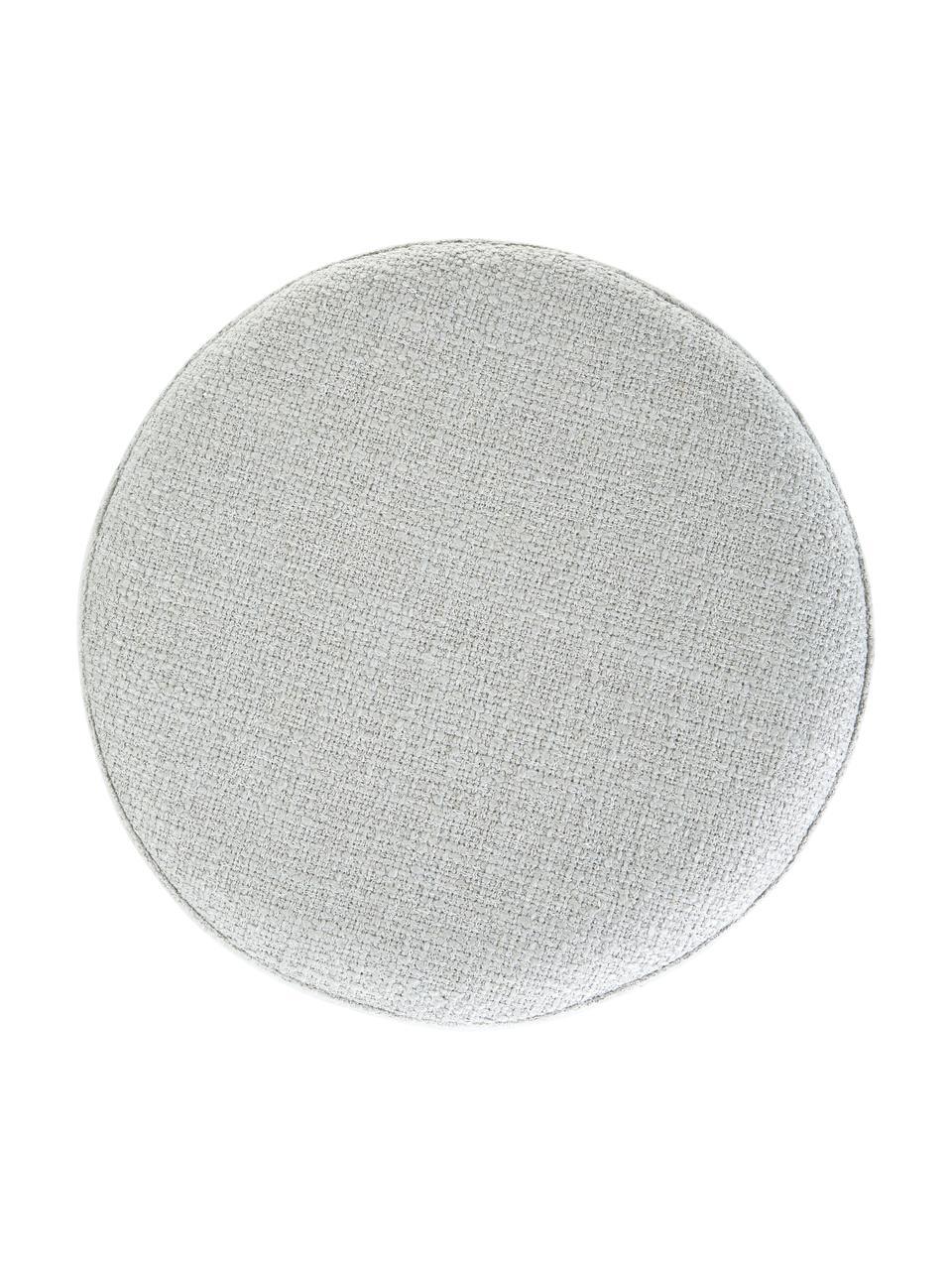 Pouf in bouclé grigio chiaro Orchid, Rivestimento: Bouclé (70% poliestere, 2, Cornice: compensato, Piedini: metallo verniciato a polv, Bouclé grigio chiaro, nero, Ø 38 x Alt. 38 cm