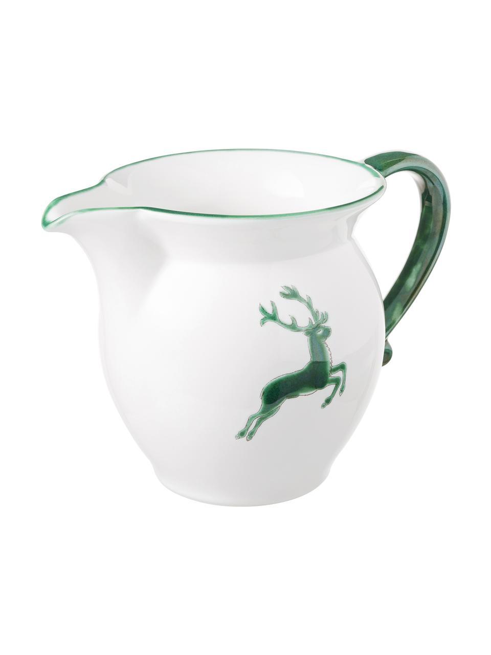 Handbemaltes Milchkännchen Classic Grüner Hirsch, 300 ml, Keramik, Grün,Weiß, 300 ml