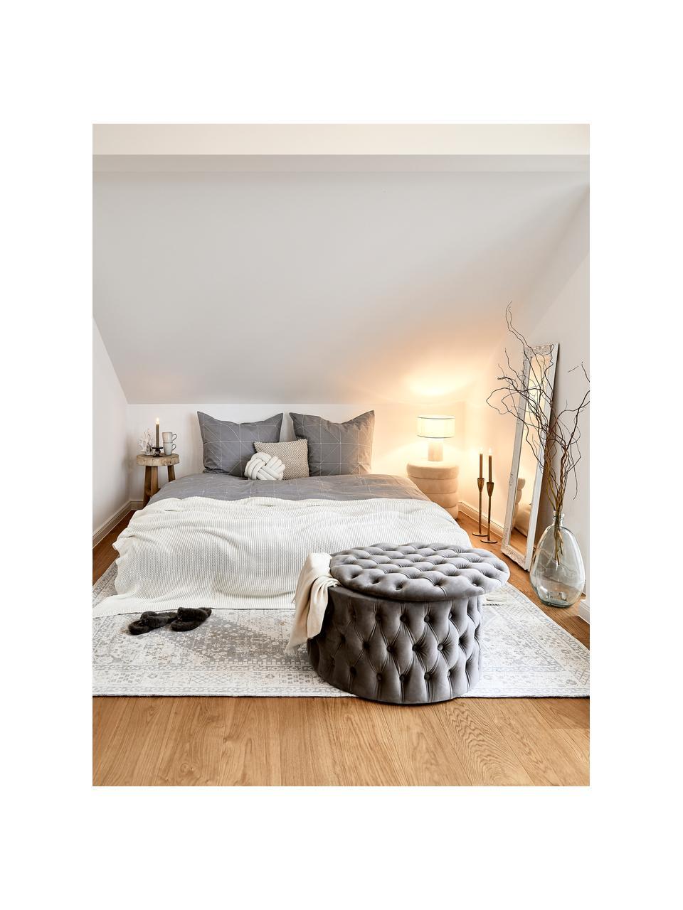 XL Samt-Hocker Chiara mit Stauraum, Bezug: Samt (Polyester) Der hoch, Korpus: Eukalyptusholz, Grau, Ø 70 x H 42 cm