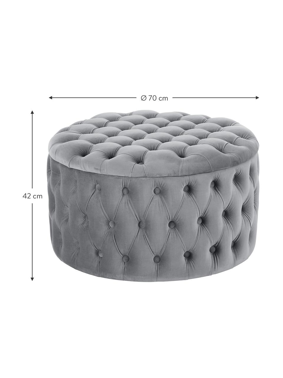 Pouf coffre XL velours gris Chiara, Gris