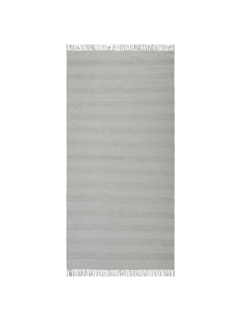 Tappeto boho in cotone a righe con frangeTanya, 100% cotone, Grigio chiaro, Larg. 200 x Lung. 300 cm (taglia L)