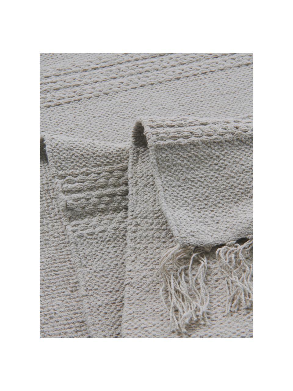 Katoenen vloerkleed Tanya met ton sur ton geweven streepstructuur en franjes, 100% katoen, Lichtgrijs, B 200 x L 300 cm (maat L)