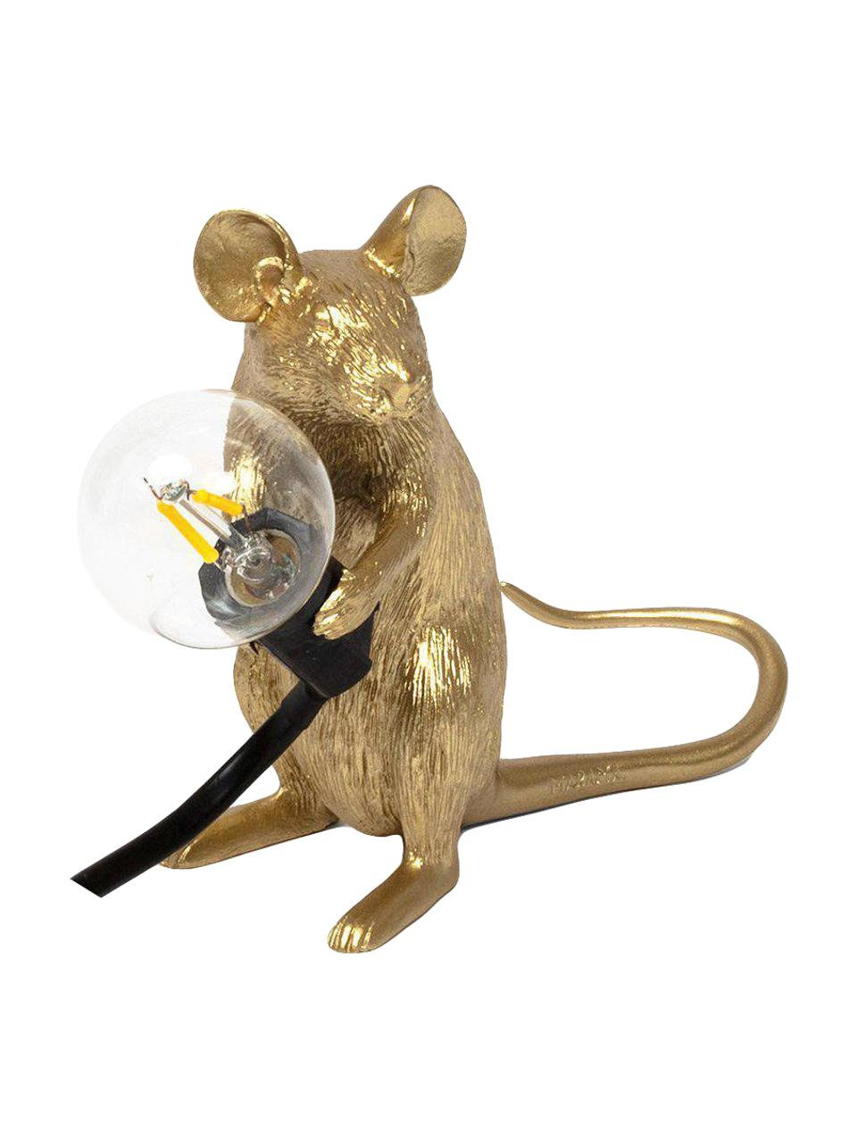 Kleine Design Tischlampe Mouse, Goldfarben, 5 x 13 cm