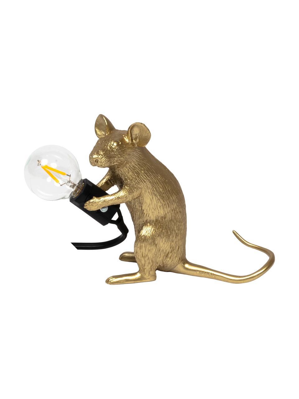 Lampada da tavolo di design Mouse, Lampada: resina sintetica, Dorato, Larg. 5 x Alt. 13 cm