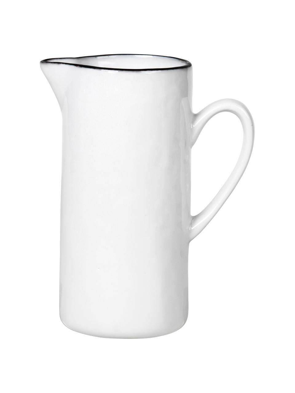 Pot à lait porcelaine avec bord noir Salt, 400 ml, Blanc, noir