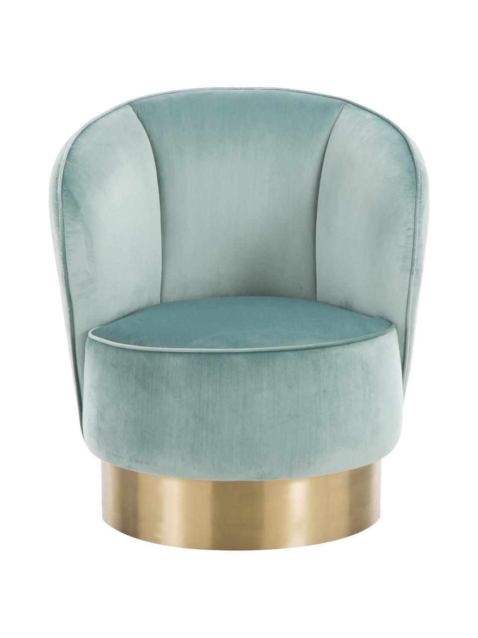Fotel koktajlowy z aksamitu Olivia, Tapicerka: aksamit (poliester) Dzięk, Aksamitny szałwiowy zielony, S 70 x G 70 cm