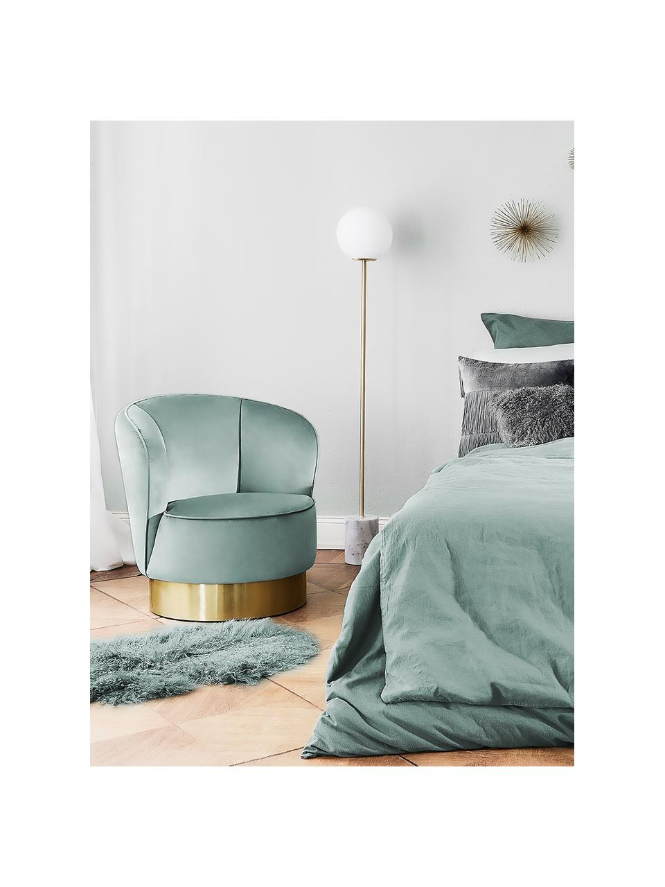 Fluwelen fauteuil Olivia in saliekleur, Bekleding: fluweel (polyester), Voet: gecoat metaal, Fluweel saliekleurig, B 70 x D 70 cm