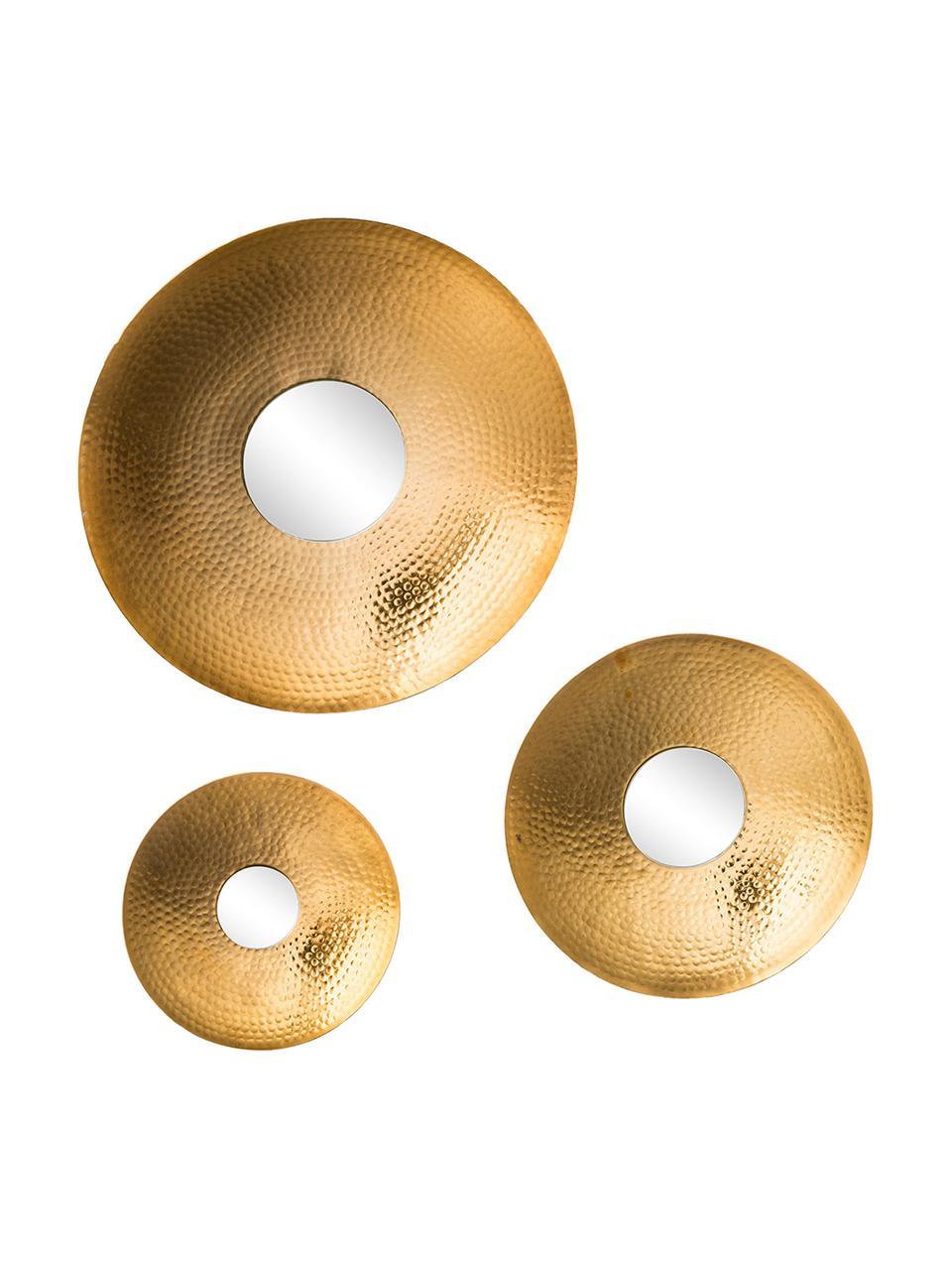 Wandspiegel-Set Eyes mit gehämmertem Rahmen, 3-tlg, Rahmen: Aluminium, gehämmert und , Spiegelfläche: Spiegelglas, Goldfarben, Sondergrößen