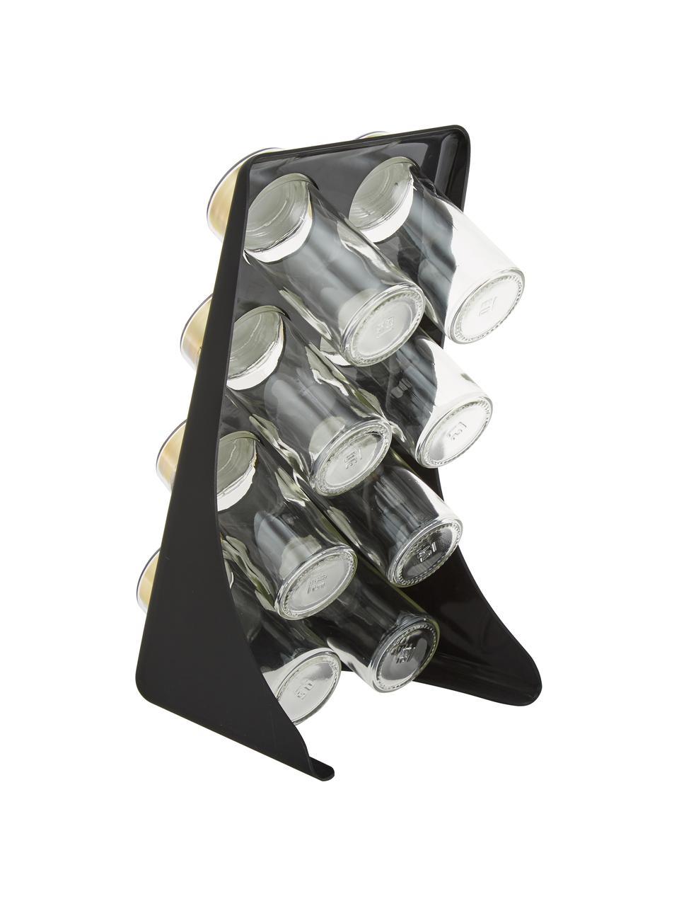 Portaspezie Master Class, set di 9, Contenitore: vetro, metallo, rivestito, Nero, ottonato, Larg. 13 x Alt. 26 cm