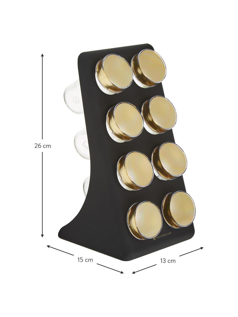 Stojak na przyprawy Master Class, 9 elem., Czarny, odcienie mosiądzu, S 13 x W 26 cm
