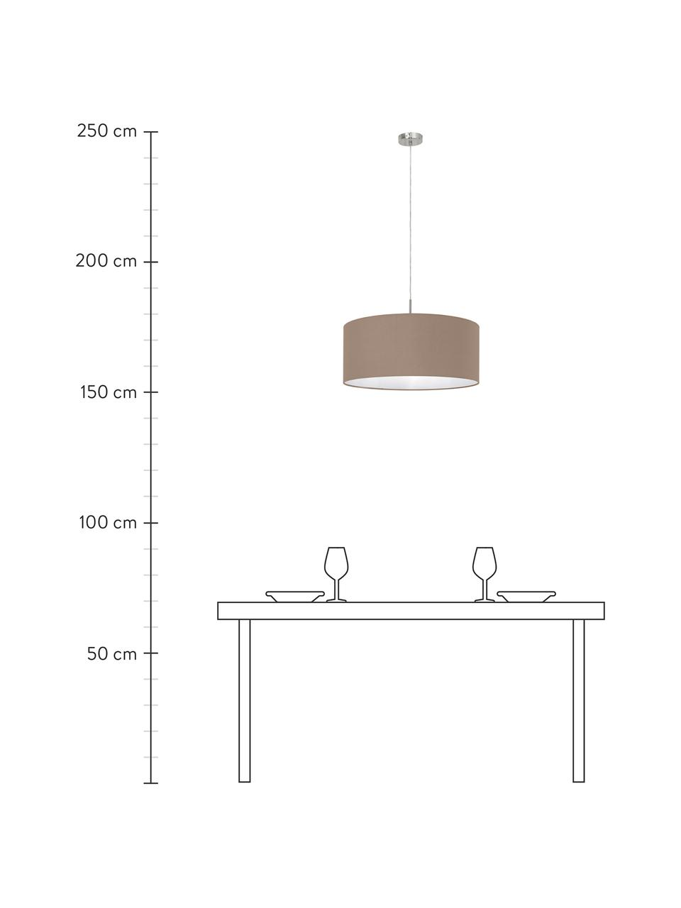 Lampada a sospensione Parry, Baldacchino: metallo nichelato, Paralume: tessuto, Argentato, taupe, Ø 53 x Alt. 25 cm