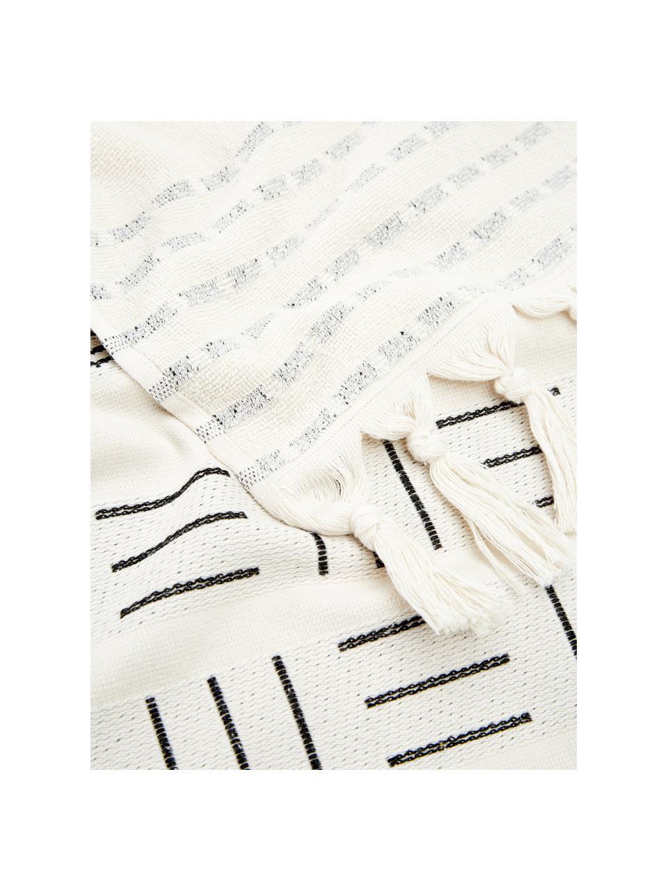 Telo fuota Akira, Retro: spugna, Bianco, nero, Larg. 100 x Lung. 180 cm