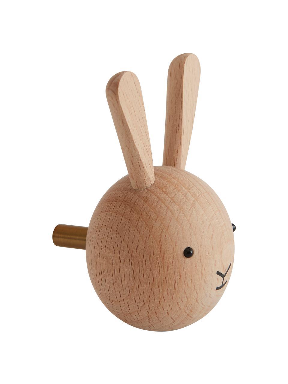 Patère en bois de hêtre Rabbit, Bois, noir