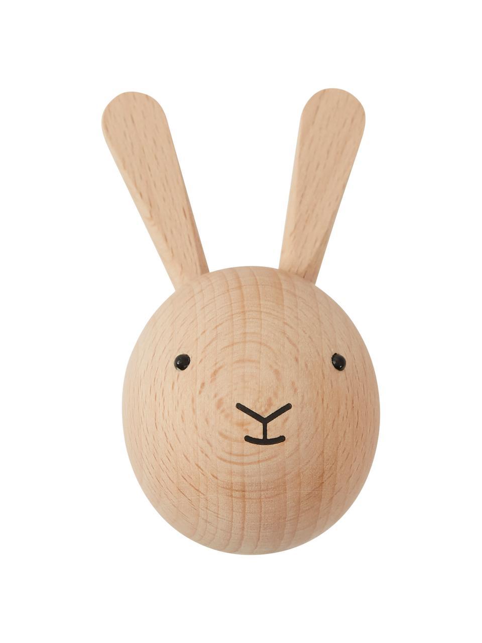 Wandhaken Rabbit aus Buchenholz, Buchenholz, Holz, Schwarz, 5 x 8 cm