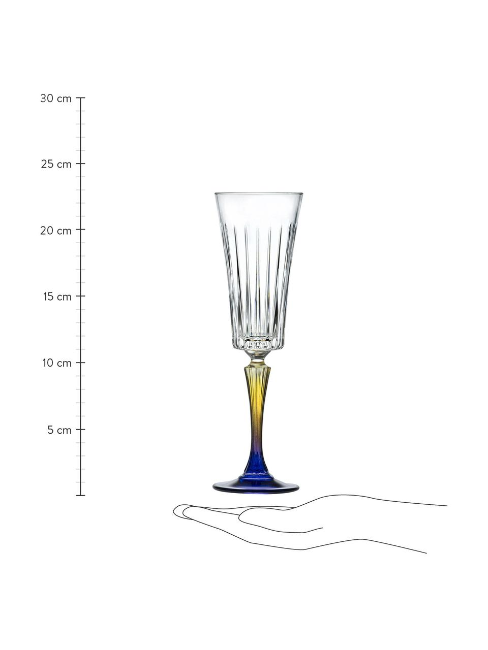 Kryształowy kieliszek do szampana Gipsy, 6 szt., Szkło kryształowe Luxion, Transparentny, żółty, niebieski, Ø 7 x W 23 cm